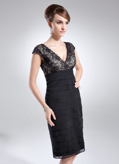 Sheath/Column V-neck Knee-Length Chiffon Lace Cocktail Dress With Ruffle