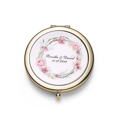 Bride Gifts - Personalized Classic Stainless Steel Compact Mirror