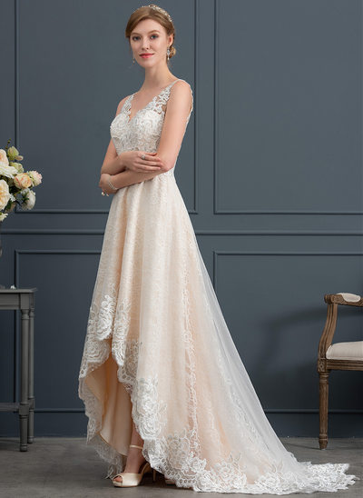 A-Line/Princess V-neck Asymmetrical Tulle Wedding Dress With Lace