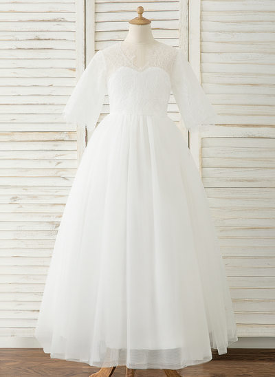 A-Line Floor-length Flower Girl Dress - Tulle/Lace 1/2 Sleeves Scoop Neck With V Back