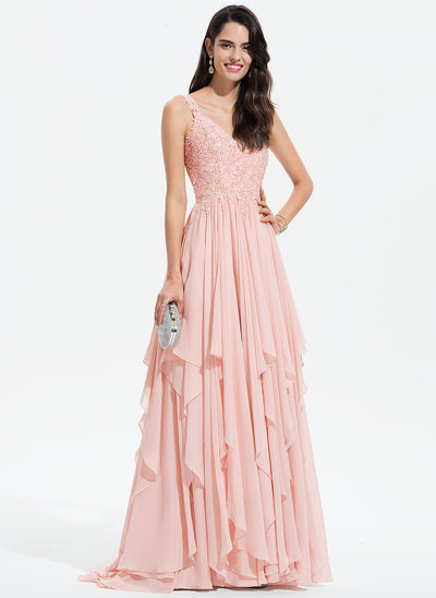 A-Line V-neck Sweep Train Chiffon Evening Dress With Lace Beading Sequins