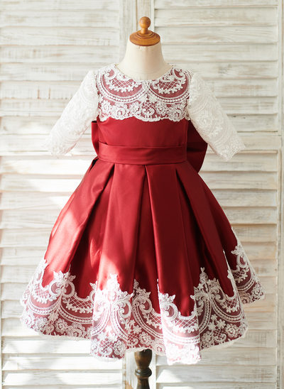 A-Line Knee-length Flower Girl Dress - Tulle/Lace 1/2 Sleeves Scoop Neck With Bow(s)