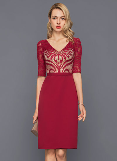 Sheath/Column V-neck Knee-Length Stretch Crepe Cocktail Dress