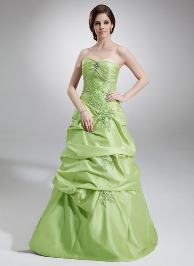 A-Line/Princess Sweetheart Floor-Length Taffeta Quinceanera Dress With Ruffle Beading Appliques Lace