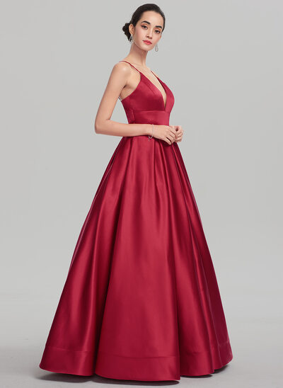 Ball-Gown V-neck Floor-Length Satin Prom Dresses
