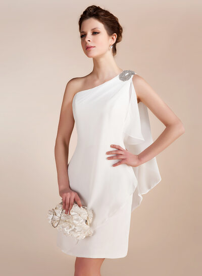 Sheath/Column One-Shoulder Short/Mini Chiffon Wedding Dress With Beading Cascading Ruffles