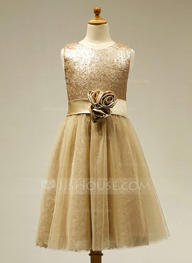 A-Line/Princess Tea-length Flower Girl Dress - Tulle/Sequined Sleeveless Scoop Neck With Flower(s) (010091697)