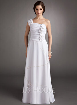 A-Line/Princess One-Shoulder Floor-Length Chiffon Holiday Dress With Ruffle Beading Flower(s) Sequins (020016341)