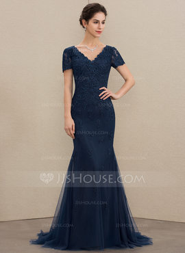 Trumpet/Mermaid V-neck Sweep Train Tulle Lace Mother of the Bride Dress (008179192)