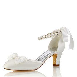 Women's Silk Like Satin Stiletto Heel Closed Toe Pumps With Bowknot Crystal (047187718)