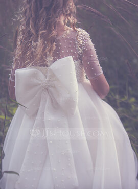 Ball-Gown/Princess Ankle-length Flower Girl Dress - Tulle 1/2 Sleeves Scoop Neck (010211715)