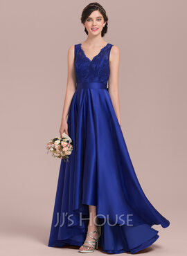 A-Line V-neck Asymmetrical Satin Lace Prom Dresses With Bow(s) (018144957)
