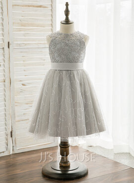 Knee-length Flower Girl Dress - Tulle Lace Sleeveless Scoop Neck With Beading (269217876)