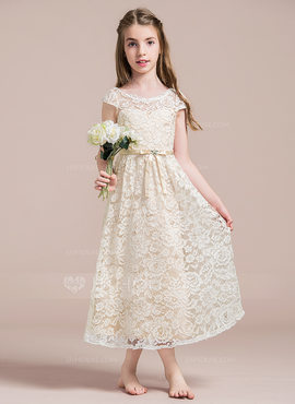 A-Line/Princess Scoop Neck Ankle-Length Lace Junior Bridesmaid Dress With Beading Bow(s) (009087903)