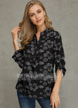 Manches longues Polyester Col V Tricot Blouses (1003223569)