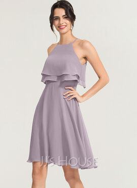 A-Line Square Neckline Knee-Length Chiffon Cocktail Dress (016170872)