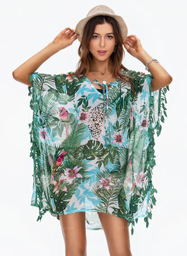 Fashionable Floral Chiffon Cover-ups