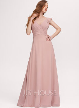A-Line V-neck Floor-Length Chiffon Bridesmaid Dress With Ruffle (007234390)