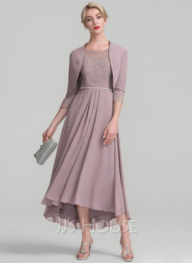 A-Line Scoop Neck Asymmetrical Chiffon Lace Mother of the Bride Dress With Beading (008118940)