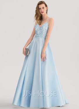 A-Line/Princess V-neck Sweep Train Satin Prom Dresses With Lace Beading (018138345)