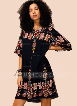 Polyester With Tassel/Print Above Knee Dress (199222678)
