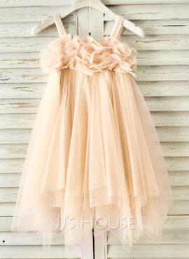 A-Line/Princess Knee-length Flower Girl Dress - Tulle Sleeveless Straps With Beading (010091186)