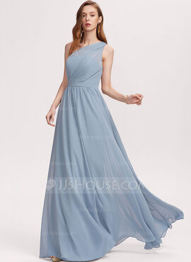 A-Line One-Shoulder Floor-Length Chiffon Bridesmaid Dress With Ruffle (007234393)