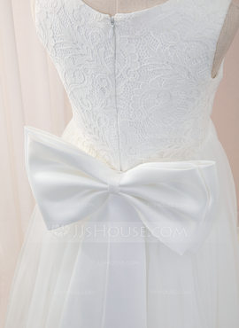 A-Line Floor-length Flower Girl Dress - Tulle/Lace Sleeveless Scoop Neck With Bow(s) (010207221)