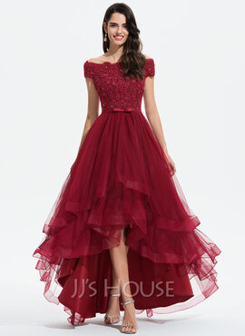 A-Line Off-the-Shoulder Asymmetrical Tulle Bridesmaid Dress With Beading Sequins Bow(s) (007233293)