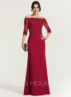 Sheath/Column Off-the-Shoulder Floor-Length Stretch Crepe Evening Dress (017167705)