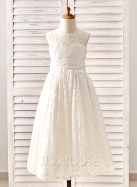 A-Line/Princess Tea-length Flower Girl Dress - Lace Sleeveless Jewel With Pleated