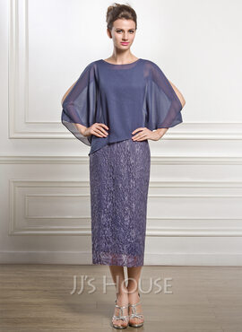 Sheath/Column Scoop Neck Tea-Length Chiffon Lace Mother of the Bride Dress (008051477)