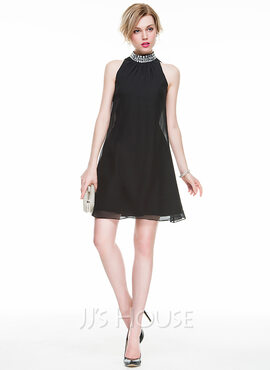 A-Line/Princess High Neck Short/Mini Chiffon Cocktail Dress With Beading Sequins (016083919)