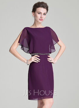 A-Line Scoop Neck Knee-Length Chiffon Mother of the Bride Dress With Beading Sequins Cascading Ruffles (008072712)