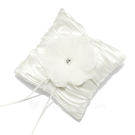Pure Elegance Ring Pillow in Satin With Rhinestones/Petals (103053083)