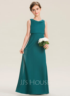 A-Line Cowl Neck Floor-Length Chiffon Junior Bridesmaid Dress With Ruffle (009173295)