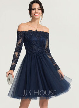 A-Line Off-the-Shoulder Knee-Length Tulle Cocktail Dress With Beading (016170864)