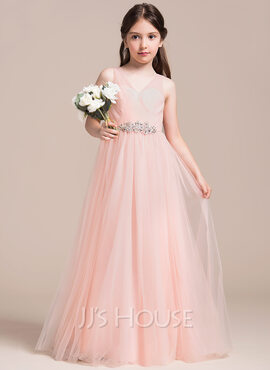 A-Line/Princess V-neck Floor-Length Tulle Junior Bridesmaid Dress With Ruffle Beading Sequins (009087888)