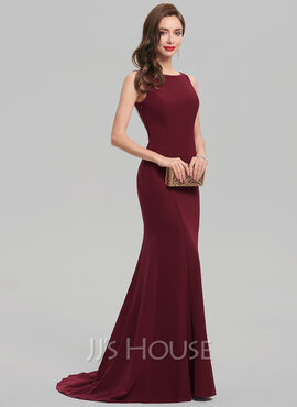 Trumpet/Mermaid Scoop Neck Sweep Train Stretch Crepe Evening Dress With Beading (017137384)