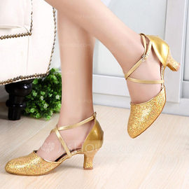 Women's Sparkling Glitter Patent Leather Heels Pumps Ballroom With Ankle Strap Dance Shoes