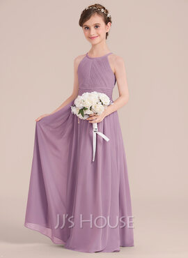 A-Line/Princess Scoop Neck Floor-Length Chiffon Junior Bridesmaid Dress With Ruffle (009130511)