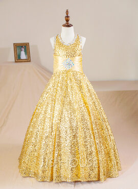 Ball Gown Floor-length Flower Girl Dress - Sequined Sleeveless Halter With Beading (Petticoat NOT included) (010094139)