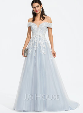 Ball-Gown/Princess Off-the-Shoulder Sweep Train Tulle Prom Dresses With Sequins (018187203)