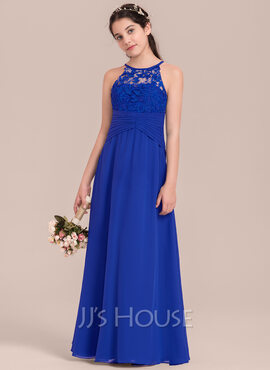 Empire Scoop Neck Floor-Length Chiffon Junior Bridesmaid Dress With Ruffle (009130630)