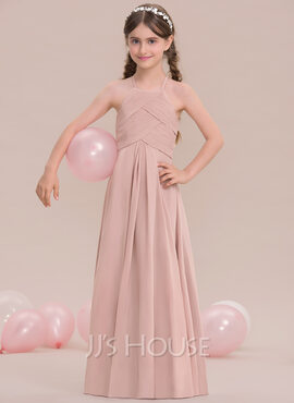 A-Line/Princess Scoop Neck Floor-Length Chiffon Junior Bridesmaid Dress With Ruffle (009119576)