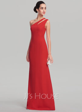 Sheath/Column One-Shoulder Floor-Length Stretch Crepe Evening Dress (017137383)