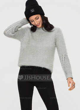 Plain Cable-knit Mohair Turtleneck Sweater Sweaters (1002190363)
