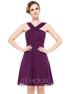 A-Line V-neck Knee-Length Chiffon Bridesmaid Dress With Ruffle (007051434)