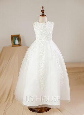 Ball Gown Ankle-length Flower Girl Dress - Satin/Tulle Sleeveless Scoop Neck With Beading/Appliques (010094109)