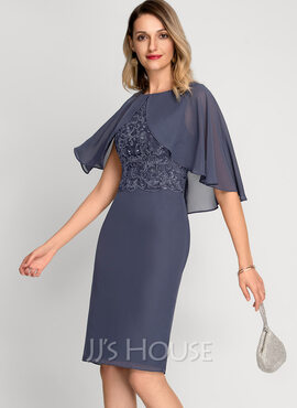 Sheath/Column Scoop Neck Knee-Length Chiffon Cocktail Dress With Sequins (016212843)